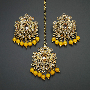 Surata- Yellow /Gold Polki Stone Earring Tikka Set -Antique Gold