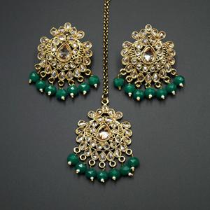 Surata- Green /Gold Polki Stone Earring Tikka Set -  Antique Gold