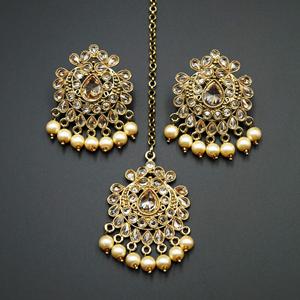 Surata-  Gold Polki Stone Earring  Tikka Set - Antique Gold