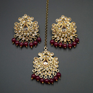 Surata- Maroon /Gold Polki Stone Earring Tikka Set -Antique Gold