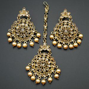 Prema - Gold Polki Stone Earring Tikka Set - Antique Gold