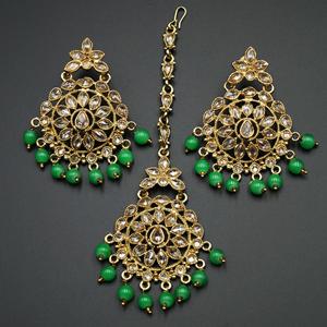 Prema - Green/Gold Polki Stone Earring Tikka Set -  Antique Gold