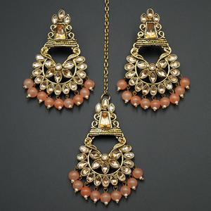 Kanta - Peach /Gold Kundan Stone Earring Tikka Set - Antique Gold