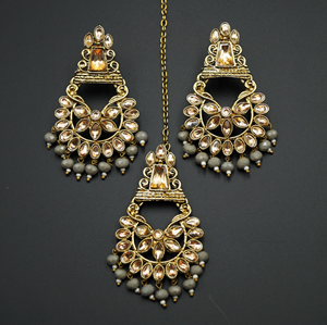 Kanta - Grey /Gold Kundan Stone Earring Tikka Set - AntiqueGold