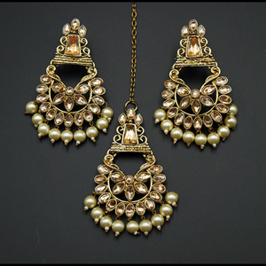 Kanta - Gold Kundan Stone Earring Tikka Set - Antique Gold