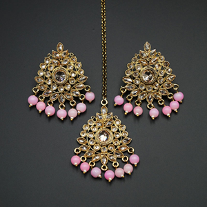 Elora- Baby Pink /Gold Polki Stone Earring Tikka Set - Antique Gold