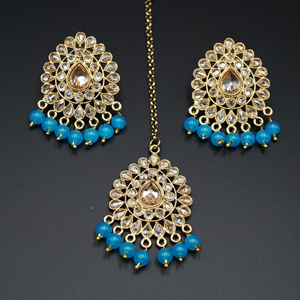 Elora- Turquoise/Gold Polki Stone Earring Tikka Set - Antique Gold