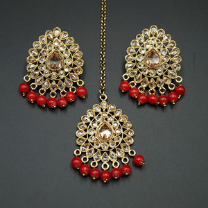 Elora- Red/Gold Polki Stone Earring Tikka Set - Antique Gold
