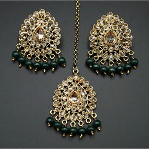 Elora- Green /Gold Polki Stone Earring Tikka Set - Antique Gold