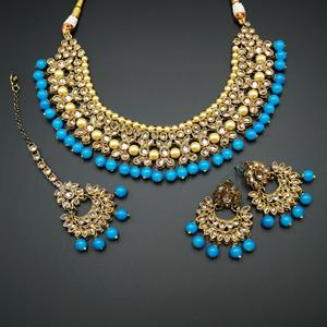 Neima -Gold Polki Stone/Turquoise Beads Necklace set - Antique Gold