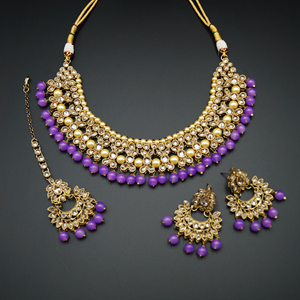 Neima -Gold Polki Stone/Lilac Beads Necklace set - Antique Gold