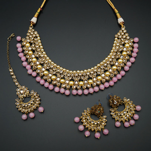 Neima -Gold Polki Stone/Baby Pink Beads Necklace set - Antique Gold