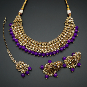 Jash Gold Polki Stone/Purple Bead Necklace set - Antique Gold