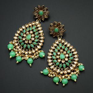 Tarla - Gold Kundan & Pista Bead Earrings - Antique Gold