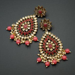 Tarla - Gold Kundan & Coral Bead Earrings - Antique Gold