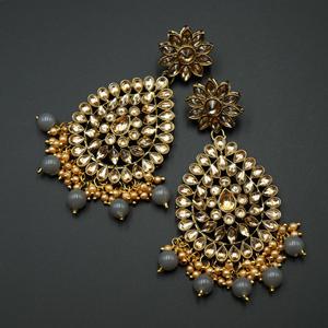Tarla - Gold Kundan / Grey Bead Earrings - Antique Gold