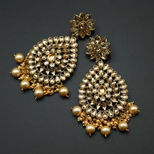 Tarla- Gold Kundan & Pearl Earrings - Antique Gold