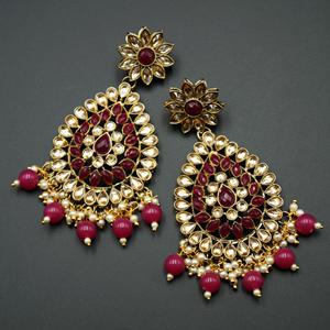Tarla - Gold Kundan / Dark Pink Bead Earrings -Antique Gold