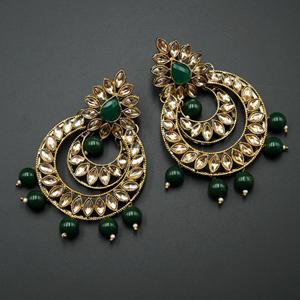 Kona - Gold Kundan & Green Bead Earrings - Antique Gold
