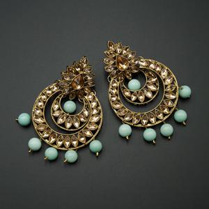 Kona  - Gold Kundan & Mint Bead Earrings - Antique Gold