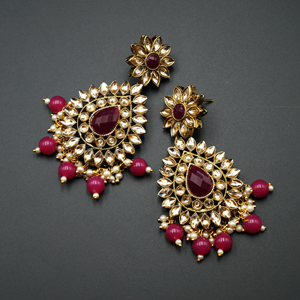 Maia - Gold Kundan & Dark Pink Bead Earrings - Antique Gold