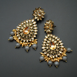 Maia - Gold Kundan & Grey Bead Earrings - Antique Gold