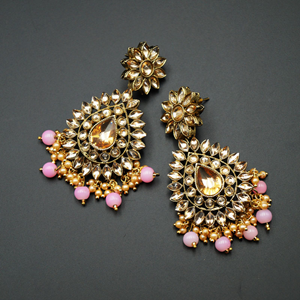 Maia - Gold Kundan & Light Pink Bead Earrings - Antique Gold