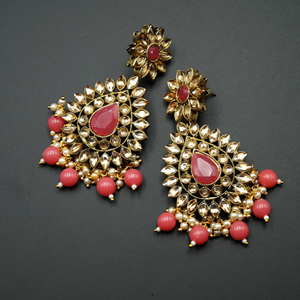 Maia - Gold Kundan & Coral Bead Earrings - Antique Gold