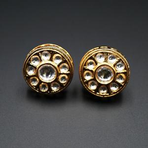 Saura -White Kundan Earrings – Gold