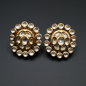 Umail  -White Kundan Earrings – Gold