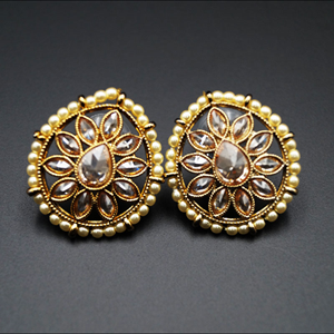 Nima- Gold Polki Stone Earrings - Antique Gold