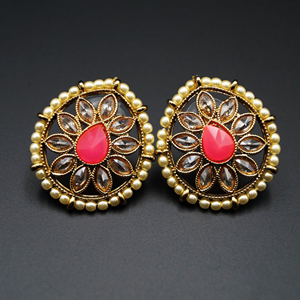 Nima- Pink/Gold Polki Stone Earrings - AntiqueGold