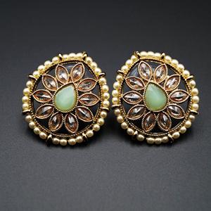 Nima- Mint/Gold Polki Stone Earrings - AntiqueGold