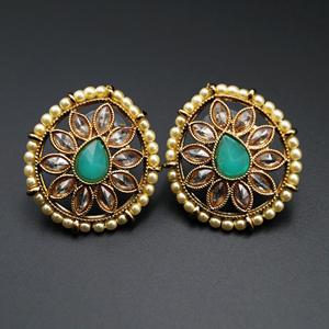 Nima- Pista/Gold Polki Stone Earrings - AntiqueGold