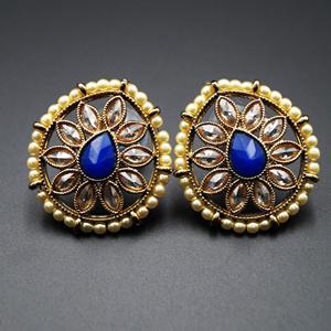 Nima- Blue /Gold Polki Stone Earrings - AntiqueGold
