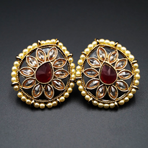 Nima-  Maroon/Gold Polki Stone Earrings - AntiqueGold