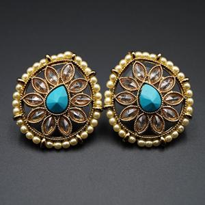 Nima-  Turquoise/Gold Polki Stone Earrings - AntiqueGold