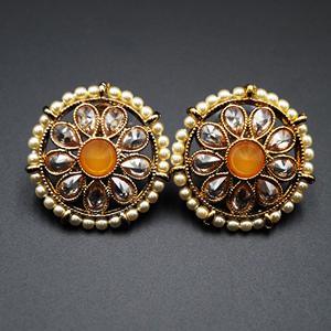 Lajni -Yellow Gold Polki Stone Earrings - AntiqueGold