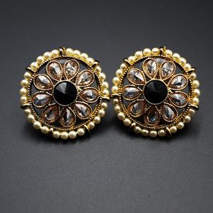 Lajni - Black/Gold Polki Stone Earrings - AntiqueGold
