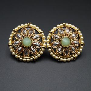 Lajni - Mint/Gold Polki Stone Earrings - AntiqueGold