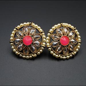 Lajni - Pink/Gold Polki Stone Earrings - AntiqueGold