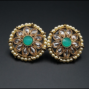 Lajni - Pista/Gold Polki Stone Earrings - AntiqueGold