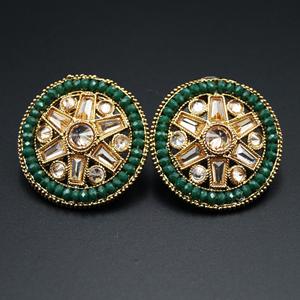 Saroja - Gold Polki Stone Earrings - AntiqueGold