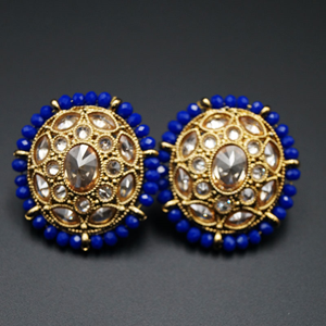 Hiral - Gold Polki Stone Earrings - AntiqueGold
