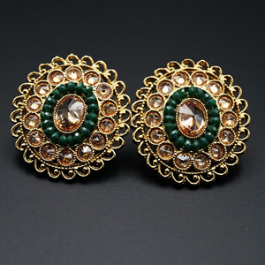 Bano - Gold Polki Stone Earrings - AntiqueGold