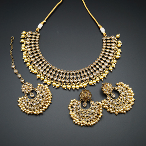 Nita- Gold Polki Stone Necklace Set with Pearls- Antique Gold