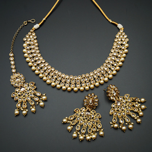 Kiri- Gold Polki Stone Necklace Set with Pearls- Antique Gold
