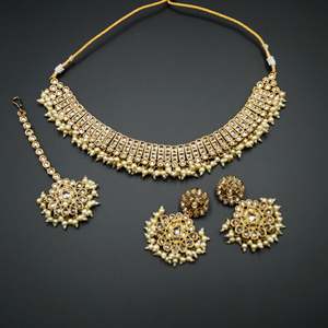 Azra- Gold Polki Stone Necklace Set with Pearls- Antique Gold