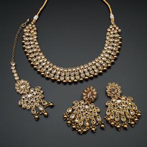 Kiri- Gold Polki Stone Necklace Set - Antique Gold