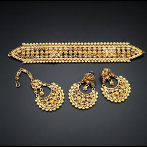 Banita- Gold Polki Stone Choker Necklace Set with Pearls- Antique Gold